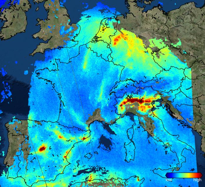Dal satellite Sentinel 5P le immagini dell'inquinamento su Europa e Italia