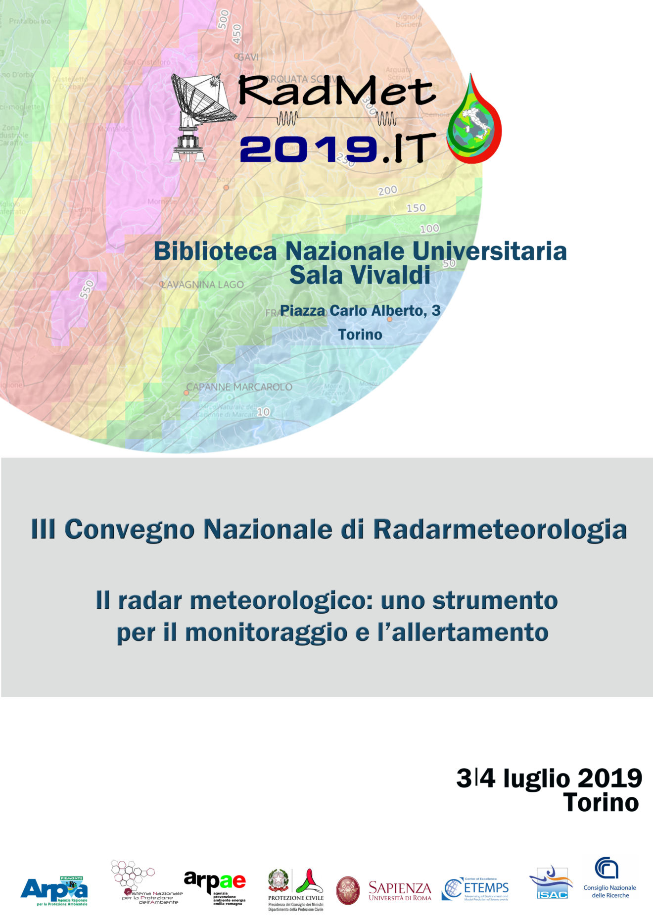 Convegno nazionale di radar meteorologia 3 e 4 luglio 2019 a Torino
