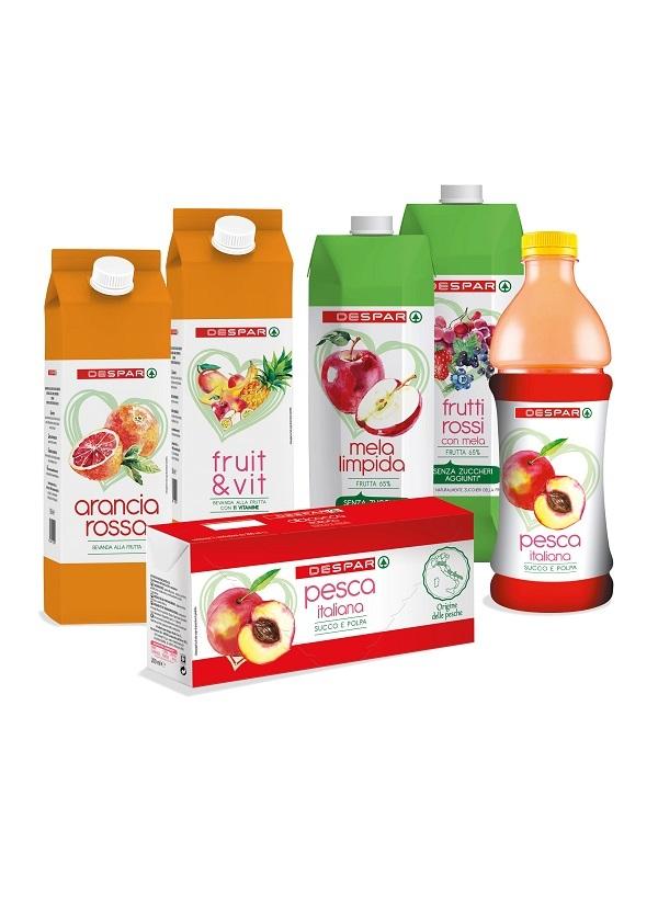 Nettare e succhi di frutta con minore quantità di zucchero: Despar sceglie Fruttagel per le bevande a marchio